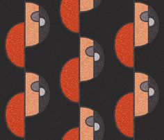 Half circles orange on brown fabric by su_g on Spoonflower - custom fabric