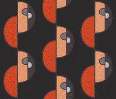 Half circles orange on brown fabric by su_g on Spoonflower - custom fabric
