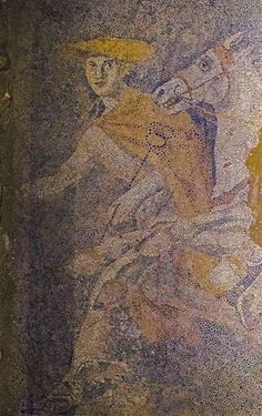 Hermes, ambassador of the gods, conductor of dead souls to Hades #Amphipolis new amazing  mosaic of supreme quality.Hermes is depicted in the guise of the soul bearer, wearing a petasos (hat) a cloak, winged sandals and holds a caduceus (a winged staff with two snakes wrapped around it) . The movement is from east to west.