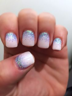 Pastel Glitter Nails pink and blue #Nails #NailArt #Pink #blue #Pastel #Glitter #Sparkle
