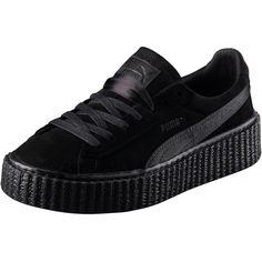 Puma PUMA BY RIHANNA WOMEN'S BLACK SATIN CREEPER ($140) ❤ liked on Polyvore featuring men's fashion, men's shoes, men's sneakers, shoes, sneakers, punk shoes, black platform shoes, platform shoes, black shoes and black satin shoes