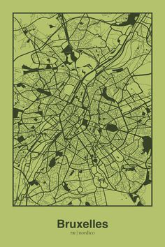 Brussels, Belgium Map Print