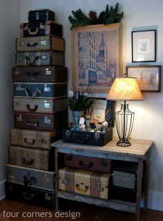 Tower of vintage suitcases