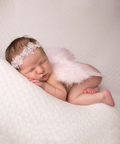 Another great find on #zulily! Pink Lace Halo & Angel Wings by The Tiny Blessings Boutique #zulilyfinds