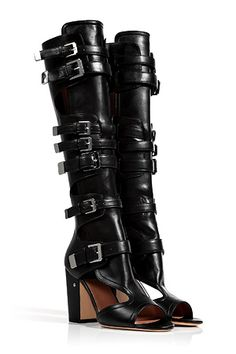 LAURENCE DACADE Black Leather Dolene Open Toe Boots