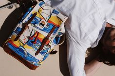 """The new YKRA collection for SUMMER 2019 is inspired by the childhood memories of sailing at the """"Hungarian sea"""", the Lake Balaton. Sailing Adventures, Traditional Fabric, Vintage Textiles, Mini Backpack, Italian Leather, Textile Design, Summer Collection, Childhood Memories, Dinghy"""