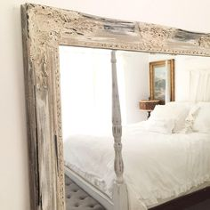 French Farmhouse Mirror with Distressed Wooden Frame Neutral Bedroom Decor, Modern Bedroom Decor, Neutral Bedrooms, Shabby Chic Bedrooms, Guest Bedrooms, Bedroom Pictures, Nursery Mirror, Wall Mirror, Mirror Bathroom