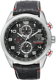 Citizen WORLD CHRONOGRAPH AT LIMITED EDITION BLACK DIAL LEATHER STRAP Mens Watch AT8030-18F BY Citizen