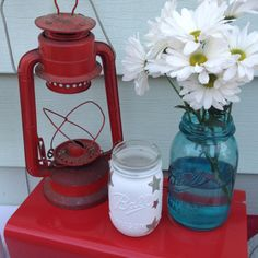 use mason jars for candles and flowers