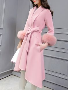 Pink V Neck Long Sleeve Tie-Waist High Low Pockets Coat