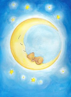 Baby moon bear, nursery decor, boy, girl, original painting.