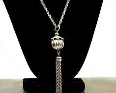 Vintage Statement Necklace  Vintage Necklace  Vintage Silver Tone Necklace  Tassel Necklace  Gift for her  Gift For Mom