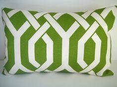 Ready made pillow    14x18 Lumbar Designer Pillow In Slick Palm From P Kaufman