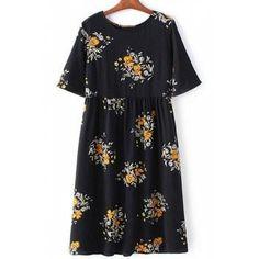 #DressLily - #Dresslily Round Collar Short Sleeve Floral Print Loose Dress - AdoreWe.com