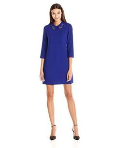 f63f13f1a83 Amazon.com  Vince Camuto Women s Long Sleeve Shift with Beaded Collar Dress