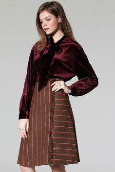 Ben Stripe Fray Skirt Discover the latest fashion trends online at storets.com #Rider Jacket #Velvet Blouse #Belted Cold Shouder Top