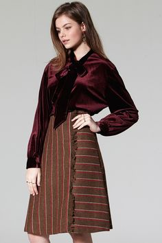 Ben Stripe Fray Skirt Discover the latest fashion trends online at storets.com #Rider Jacket  #Velvet Blouse  #Belted Cold Shouder Top