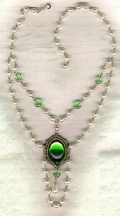 SCA Necklace Green Cab & Pearls CAN ORDER FROM LINK