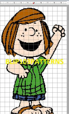 Peanuts Peppermint Patty Counted Cross Stitch Pattern Great for Beginners. $2.00, via Etsy.