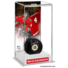 Niklas Hjalmarsson Chicago Blackhawks Fanatics Authentic Autographed Puck with Deluxe Tall Hockey Puck Case - $134.99
