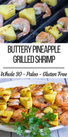 Grilled Pineapple Shrimp The Simple Supper - Buttery Pineapple Grilled Shrimp Perfect For A Quick And Easy Summer Dinner These Shrimp And Pineapple Skewers Come Together In About Total Sweet And Decadent This Dinner Feels Like You Are Cheat Grilling Recipes, Seafood Recipes, Paleo Recipes, Easy Recipes, Paleo Food, Barbecue Recipes, Paleo Diet, Crockpot Recipes, Keto