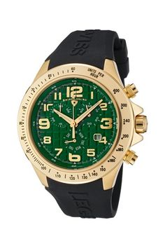 Swiss Legend Men's Eograph Chronograph Watch green dial, black band, gold tone stainless steel
