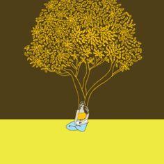 Cartaz: Pessoas descansam sob as árvores
