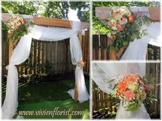 Wedding gazebo / arch decorated with garden roses, roses, carnations, hydrangeas, baby's breath and some greenery. Arch Decoration, Table Decorations, Wedding Flower Arrangements, Wedding Flowers, Garden Roses, Hydrangeas, Carnations, Fresh Flowers, Garden Wedding