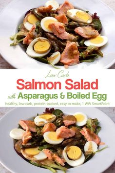 Simple and delicious, this low carb Salmon Egg and Asparagus Salad comes together in minutes with just 1 WW Freestyle SmartPoint! #salmoneggasparagussalad #salmonsalad #asparagussalad #salad #easyhealthyrecipes