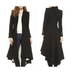 Goth/Steampunk Victorian Military Button Black Trench Coat/Jacket Plus Size