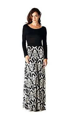 On Trend Seasons Change Long Sleeve Maxi Dress Black and White Damask Floor Length XLarge >>> Find out more about the great product at the image link.