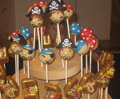 Pirate & Treasure Chest Cake Pops by Cake Pop Creations Pirate Birthday, 3rd Birthday Parties, Pirate Party, Birthday Ideas, Birthday Cakes, Treasure Chest Cake, Pirate Treasure Chest, Carribean Party, Cute Desserts
