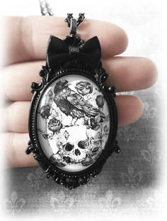 Raven Skull Necklace, Gothic Jewelry, Gothic Glass Cameo Pendant, Black and White Illustration, Alternative Jewelry, Gothic Gift, Handmade by WhisperToTheMoon on Etsy