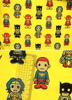 Asian Super Heroes on Yellow Cotton Lycra by funkaliciousfabrics, $15.00