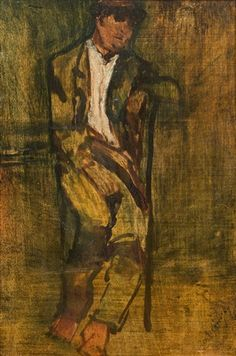 Seated man by László Mednyánszky Nailart, Global Art, Working Area, Art Market, Wood Carving, 19th Century, Auction, Figurative, Painting