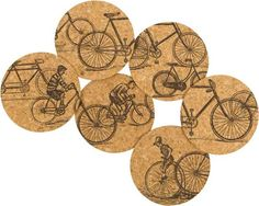 Adorable 'Antique Rides Cork Coasters'