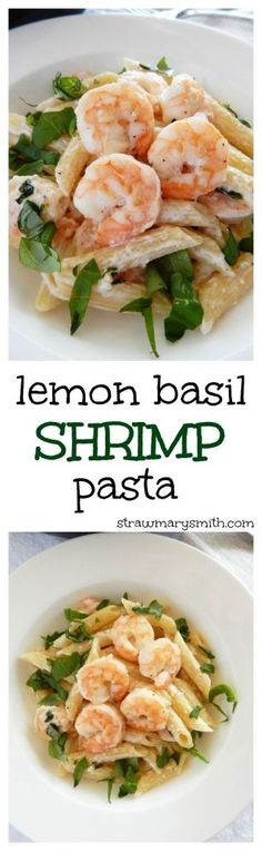 Easy Lemon Basil Shrimp Pasta is creamy, tangy, fresh, and made in just 15 minutes. (It's even gluten free!) | strawmarysmith.com