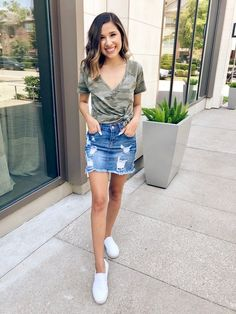 ShopStyle Look by chicmeowt featuring Aeo AE Soft & Sexy Camo Tee and Forever 21 Distressed Denim Mini Skirt Denim Skirt Outfits, Midi Skirt Outfit, Denim Outfit, Denim Skirt Outfit Summer, Dress Outfits, Fashion Outfits, Spring Outfits For School, Summer Outfits, Stylish Outfits