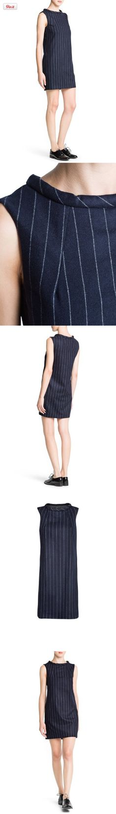 Mango Women's Pinstripe Wool Dress, Dark Blue #purchased