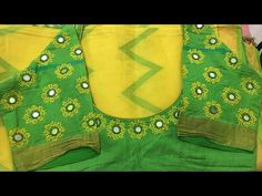Mirror and lazy dazy work tutorial step by step Hand Embroidery Dress, Embroidery Neck Designs, Hand Embroidery Videos, Embroidered Blouse, Mirror Work Saree Blouse, Mirror Work Blouse Design, Cutwork Blouse Designs, Simple Blouse Designs, Kutch Work Designs