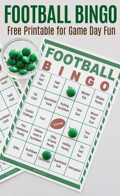 Free printable football bingo game for all ages! Watch the game, mark your cards and win bingo. The perfect Super Bowl party game or a fun family activity for football fans. Includes a set of 8 printable bingo cards for a fun football party game. #superbowl #superbowlparty #football #printables