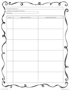 This Is An Easytouse Lesson Plan Template For Speech And - Language lesson plan template