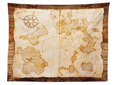 vipsung Island Map Decor Tablecloth Ancient World Chart with Grunge Style Antique Decorations Wind Rose Navigation Themed Rectangular Table Cover for Dining Room Kitchen Tan Cream
