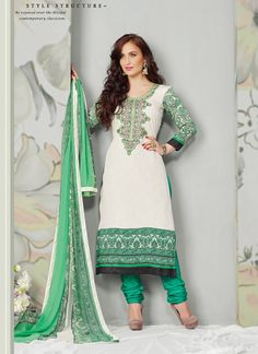 Desirable Off White And Green Crape Churidar Suit, Product Code :9595, shop now http://www.sareesaga.com/desirable-off-white-and-green-crape-churidar-suit-9595  Email :support@sareesaga.com What's App or Call : +91-9825192886