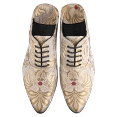 Haider Ackermann golden brocade slippers