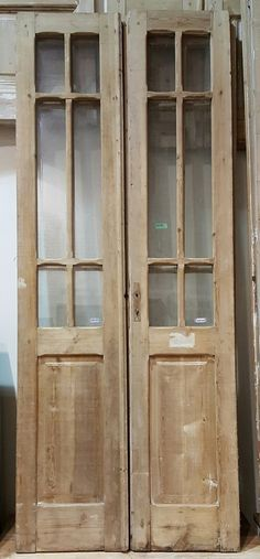 Pair of Pine French Doors with6 Panes of Glass