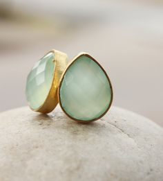 Aqua Chalcedony Teardrop Stud Earrings - Gemstone Post Earrings - Mint Green, Brushed Gold. $49.00, via Etsy.