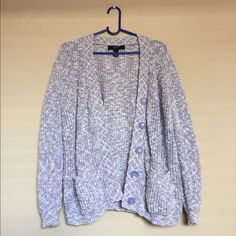 Forever 21 Chunky Cardigan Purple chunky knit cardigan Button-up  Has pockets Perfect condition   Size: Medium Brand: Forever 21 Forever 21 Sweaters Cardigans