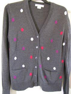 LIZ CLAIBORNE V Neck Boyfriend Cardigan in Gray & Purple Dots Sz Med Ret $50 NWT #LizClaiborne #VNeck.  Conservative with a pop of great color.