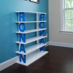 Personalized Kids Bookshelf -- I could totally BUILD this for Lucas instead of paying for it!
